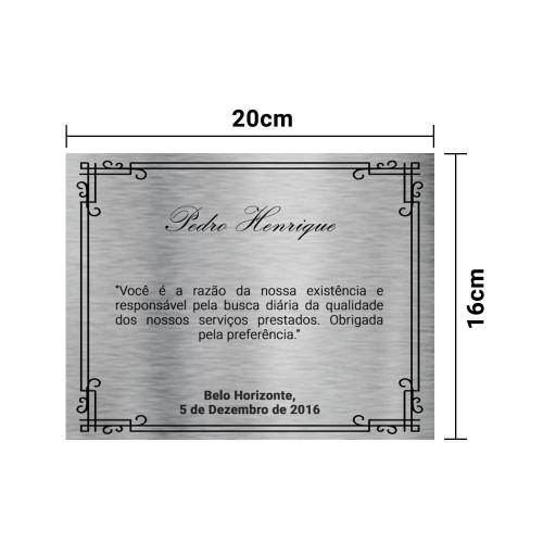 PLACA DE HOMENAGEM AÇO INOX ESCOVADO 20x16 CM COM ESTOJO