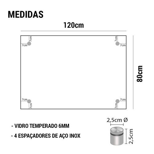 PAINEL DE VIDRO TEMPERADO COM ESPAÇADOR EM AÇO INOX 120x80