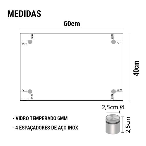 PAINEL DE VIDRO TEMPERADO COM ESPAÇADOR EM AÇO INOX 60x40