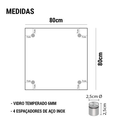 PAINEL DE VIDRO TEMPERADO COM ESPAÇADOR EM AÇO INOX 80x80