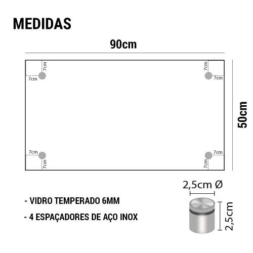 PAINEL DE VIDRO TEMPERADO COM ESPAÇADOR EM AÇO INOX 90x50